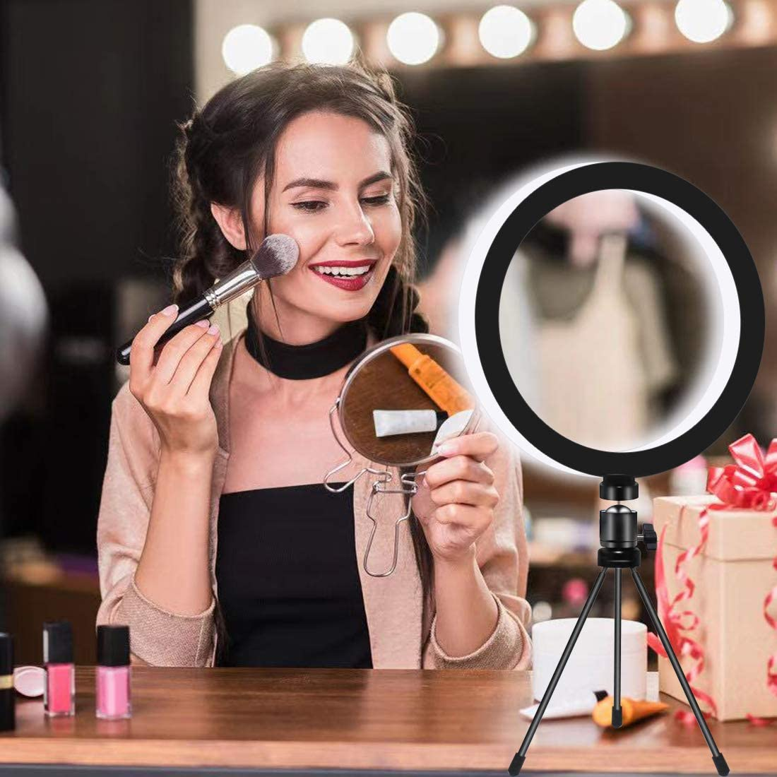 Dimmable Desktop Makeup Ring Light for Photography VANRAY 10 LED Ring Light with Tripod Stand /& Phone Holder for YouTube Video /&Live Streaming Shooting with 3 Light Modes /& 10 Brightness Level