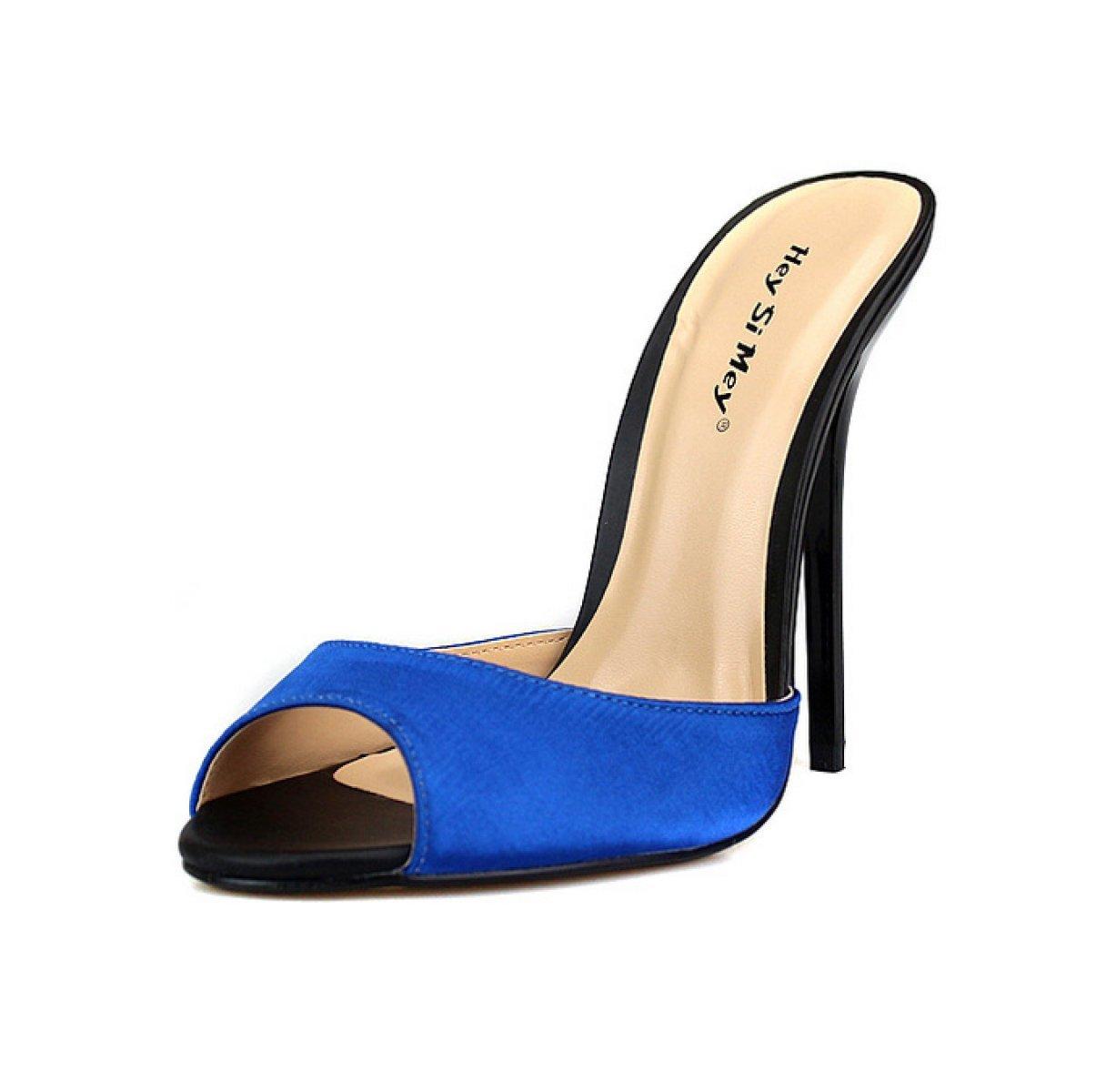 Señoras Sexy Fina Con 14 Cm De Tacones Altos Satén Material Vestido De Fiesta De Graduación (siete Colores Opcionales) 42 EU|Blue