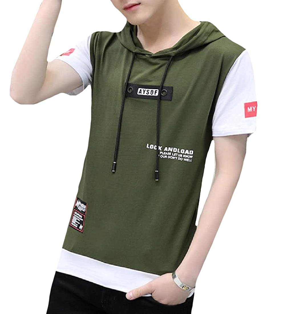 Yusky Mens Baggy Style Letter Printed Drawstring Tracksuit Top