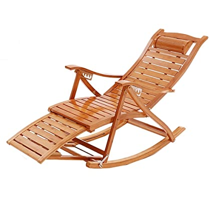 Lounge Chairs ZHIRONG Folding Chair Recliners Type S Bamboo Rocking Chair  Old Man Siesta Chair Adjustable