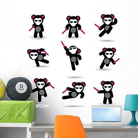 Amazon.com: Juego de nueve Ninja osos pared calcomanía Set ...