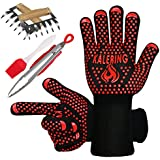 BBQ Accessories-Pork Shredder Claws-Kitchen Tongs- Basting Brush-[UPGRADED] Grill Gloves 1472ºF Heat Resistant Oven/Cooking Gloves Great Value for Four Barbecue Accessories-EN 407 EN420 CE Certificate