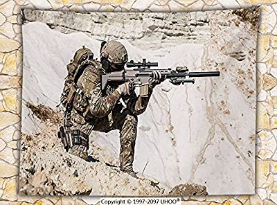 Army Decor Fleece Throw Blanket United States Ranger on the Mountain Targeting with Gun Camouflage War Picture Throw Beige Green