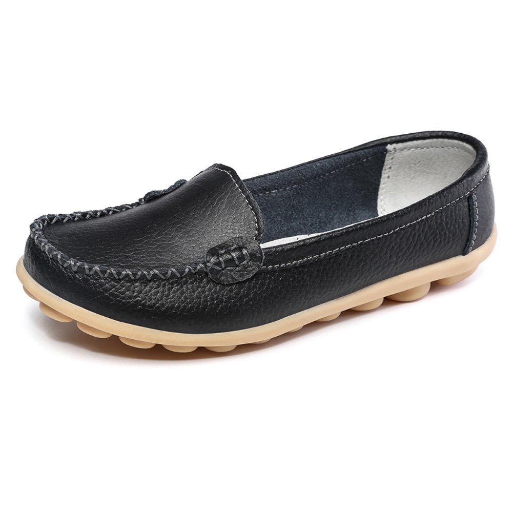 SCIEN Women's Casual Loafers Genuine Leather Driving Moccasins Slip-On Flat Shoes, Black 41