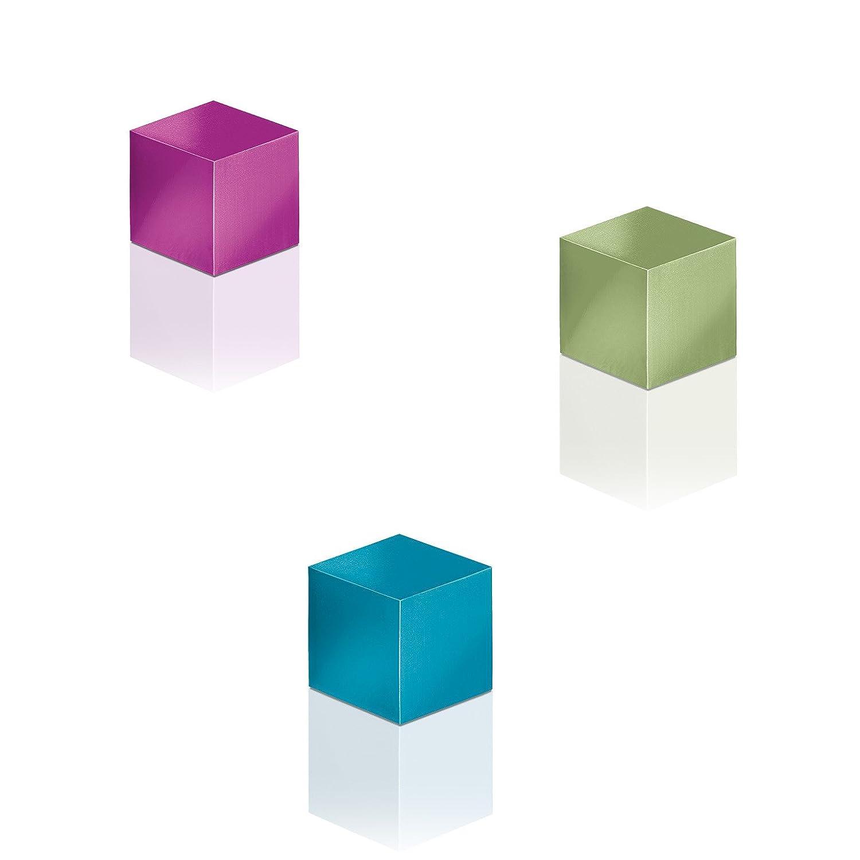 Sigel GL727 Magneti SuperDym artverum, forma a cubo, turchese, pink, verde ch, 3 pz, per lavagne magnetiche di vetro