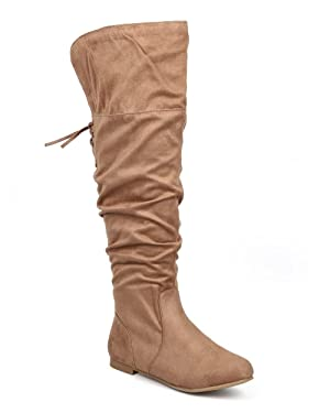 Wild Diva DD87 Women Over The Knee Suede Lace Up Back Flat Riding Boot - Taupe (Size: 7.0)