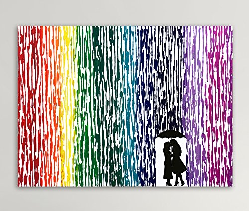 Girl Silhouette Art Girl Couple Gift Lesbian Wedding Gift Melted Crayon Art LGBT Art Gifts For Lesbian Couples 16x20quot
