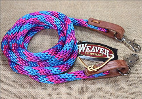 - BLUE PINK PURPLE 8ft WEAVER HORSE POLY ROPING REINS W/LEATHER LACES LOOP ENDS