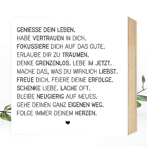 Wunderpixel Holzbild Geniesse Dein Leben 15x15x2cm Zum