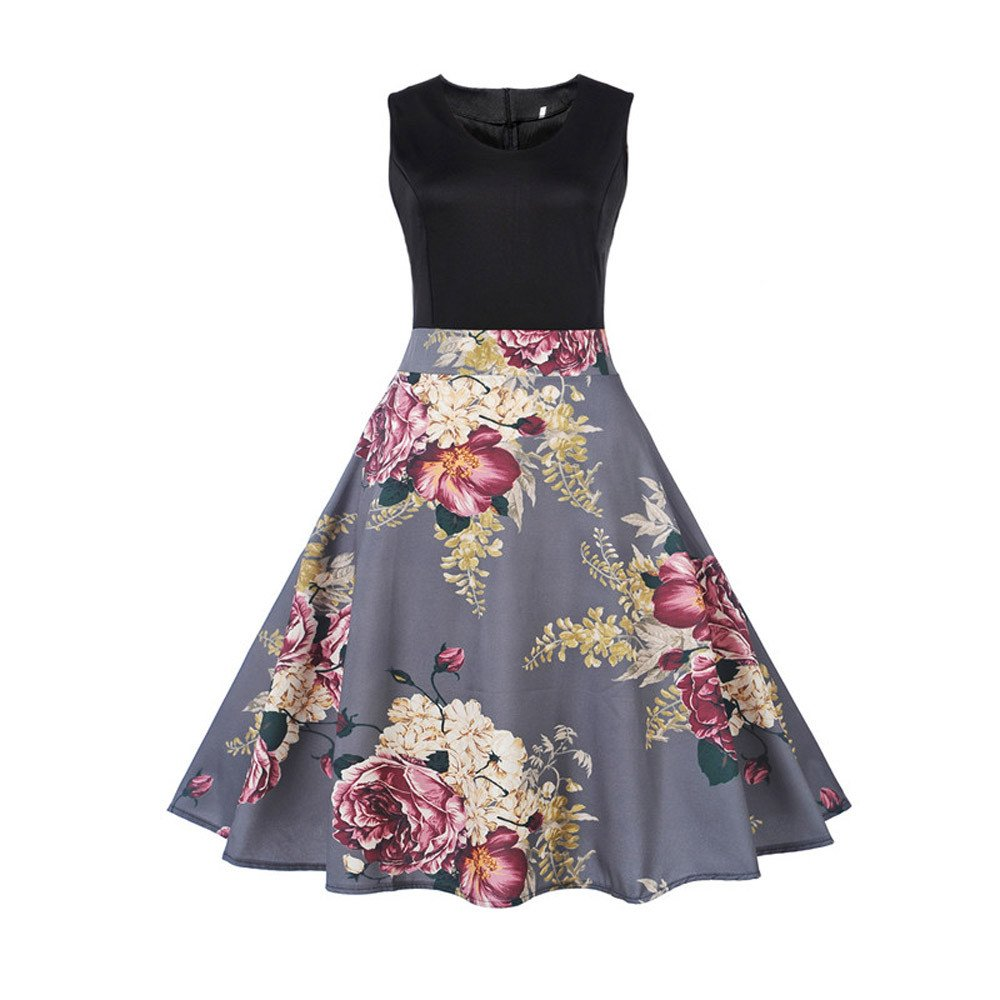 Clearance! 50S 60S Vintage Dresses Sleeveless for Women Print Casual Patchwork Prom Swing Dresses for Summer