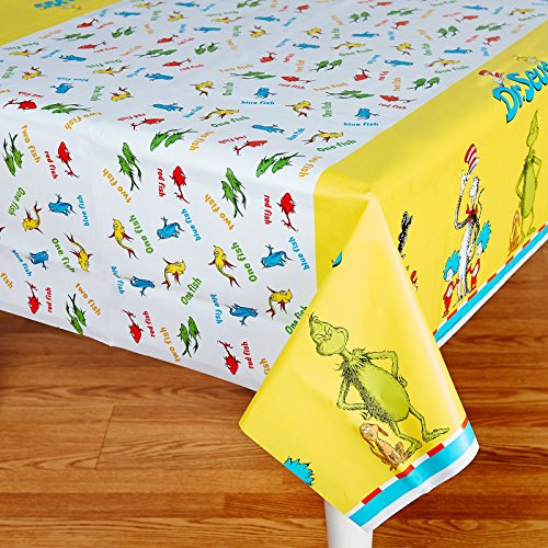 Dr Seuss Party Supplies - Plastic Table Cover (Halloween Cat Decorations)