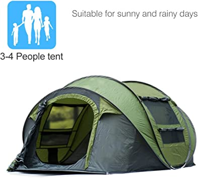 SVNA Tienda de campaña Familiar 3-4 Personas Quick Set Carpa Mochila Impermeable para Camping Senderismo,Green: Amazon.es: Deportes y aire libre