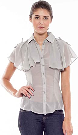 G2 Chic - Camisa de Mujer Tejida con Botones y Poncho ...