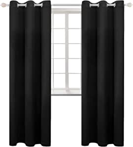 BGment Black Blackout Curtains for Living Room - Grommet Thermal Insulated Room Darkening Energy Saving Curtains for Bedroom, Set of 2 Panels, 42 x 84 Inch