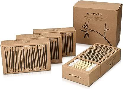 Navaris Bastoncillos para los oídos de bambú y algodón - 800 Palillos de orejas 100% reciclables biodegradables y ecológicos - 4 cajas de 200 uds.: Amazon.es: Bebé