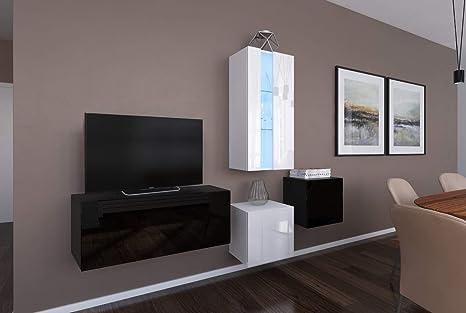 HomeDirectLTD Conjunto de Muebles Modulares Negro/Blanco ...
