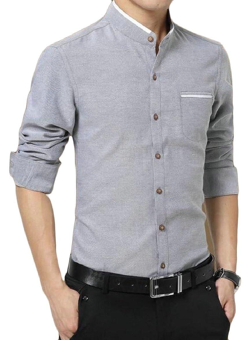 FLCH+YIGE Mens Long Sleeve Slim Business Button Down Dress Shirt