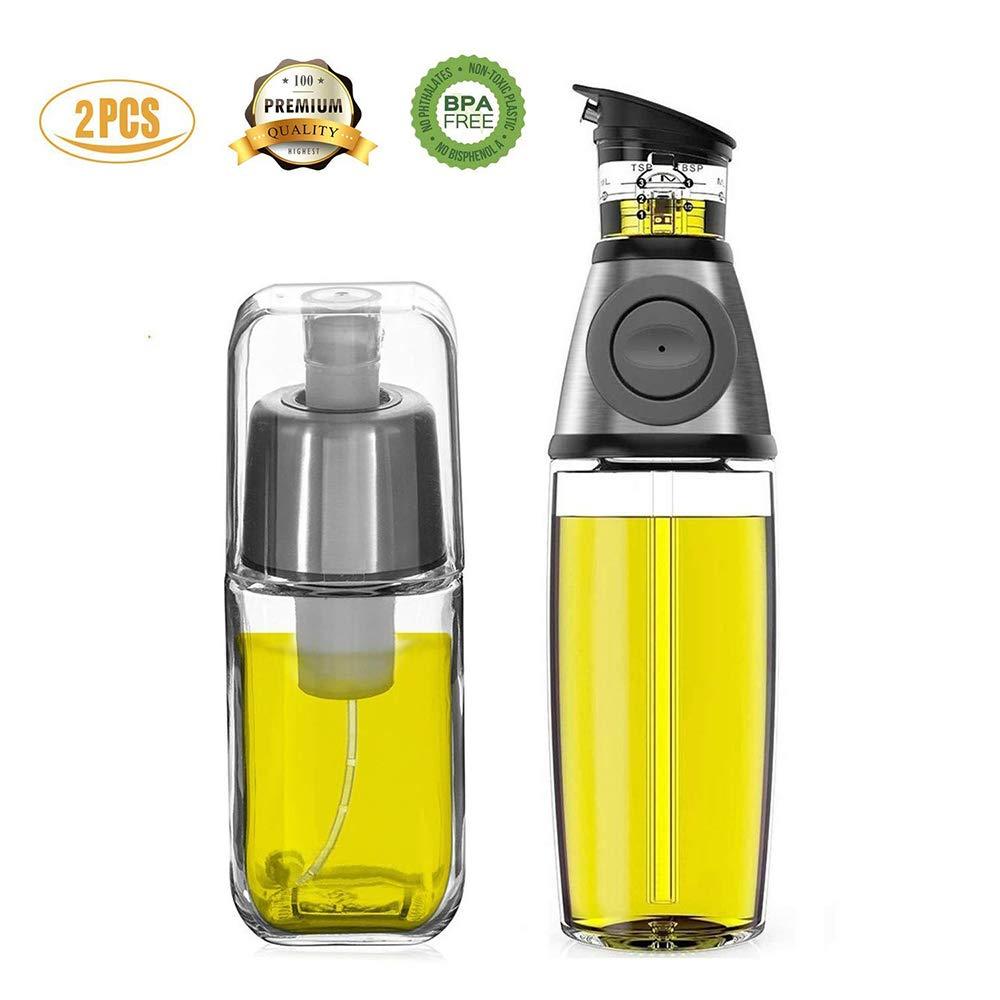 Kit dispensador de aceite y Pulverizador de Aceite FIFILARY para la cucharada de aceite en el cuerpo y el pico contra la gota, el vinagre con anti-obstrucción del filtro para barbacoa freidora aire, botellas dobles, tamaño 500 ml (17,6 oz) y 200 ml (7 oz),