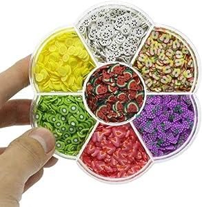 Aysekone 6300 Pieces Assorted Fruit Slices Slime Filler Charms for Slime Supplies Slime Fruit Polymer DIY Nail Art Kit Maker Soft Pottery Fruit Toy for Kids