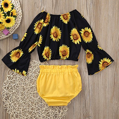 Outfit Set,Newborn Baby Girl Sunflower 3PCS Clothes, Off Shoulder Tops+Lace Shorts+Headband Set (18M, Yellow) by Nevera Baby (Image #1)