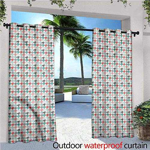 (warmfamily Abstract Outdoor Blackout Curtains Houndstooth Motifs Outdoor Privacy Porch Curtains W72 x L96)