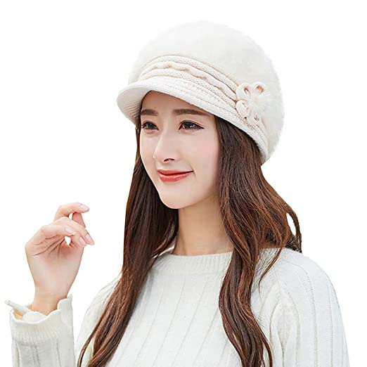 a16c79b1976 Image Unavailable. Image not available for. Color  GREFER Fashion Womens  Flower Knit Crochet Beanie Hat Winter Warm ...