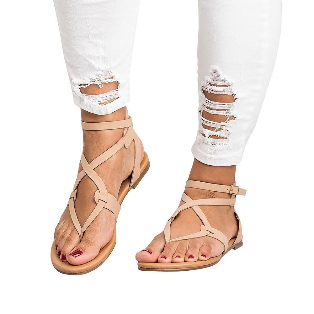 JaneDream Womens Bohemian Thin Strap Summer Sandals Flat Ankle Buckle Criss Cross Flip Flop Casual Shoes Beige & 38