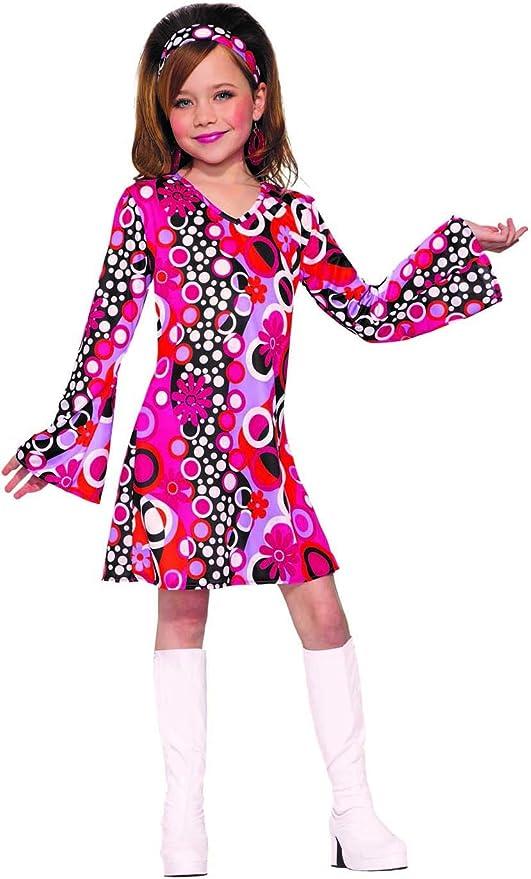 60s 70s Kids Costumes & Clothing Girls & Boys Forum Novelties Childs Groovy Girl Costume Dress Pink/Black Large $33.57 AT vintagedancer.com