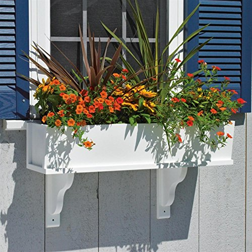 42'' Handcrafted White Vinyl Outdoor Patio and Garden Window Box Planter by CC Home Furnishings