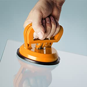 "IMT Vacuum Suction Cup Glass Lifter 5"", Vacuum Lifter for Glass/Tiles/Mirror/Granite Lifting, Gripper Sucker Plate, Double Handle Locking"