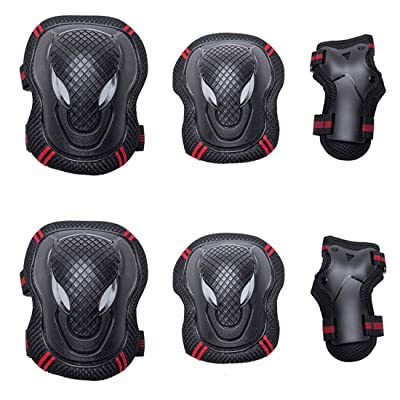 SANGKE Adult/Child Knee Pads Elbow Pads Wrist Guards 6 in 1 Protective Gear Set for Roller Skates Cycling BMX Bike Skateboard Inline Skatings Scooter Riding Sports : Sports & Outdoors