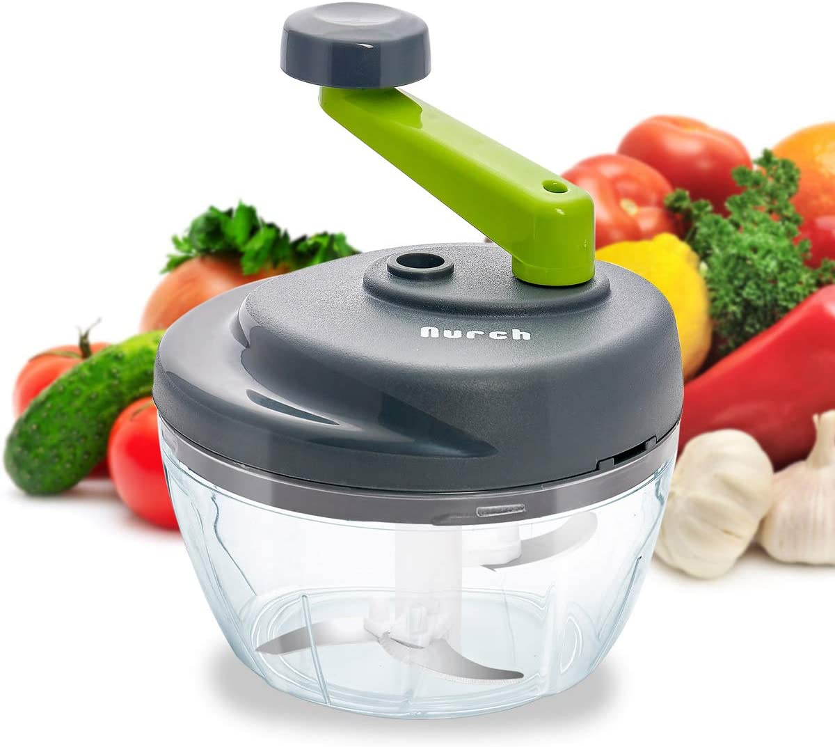 Nurch Manual Food Chopper, Easy to Clean Hand Food Processor, ExpressVegetableChopper/Dicer/CutterforOnion,Meat,Nuts,SalsaMaker