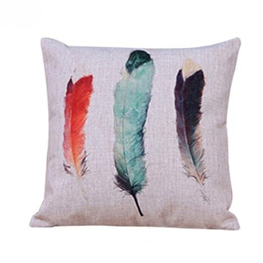 Diseño de plumas manta funda de almohada Funda para cojín de ...