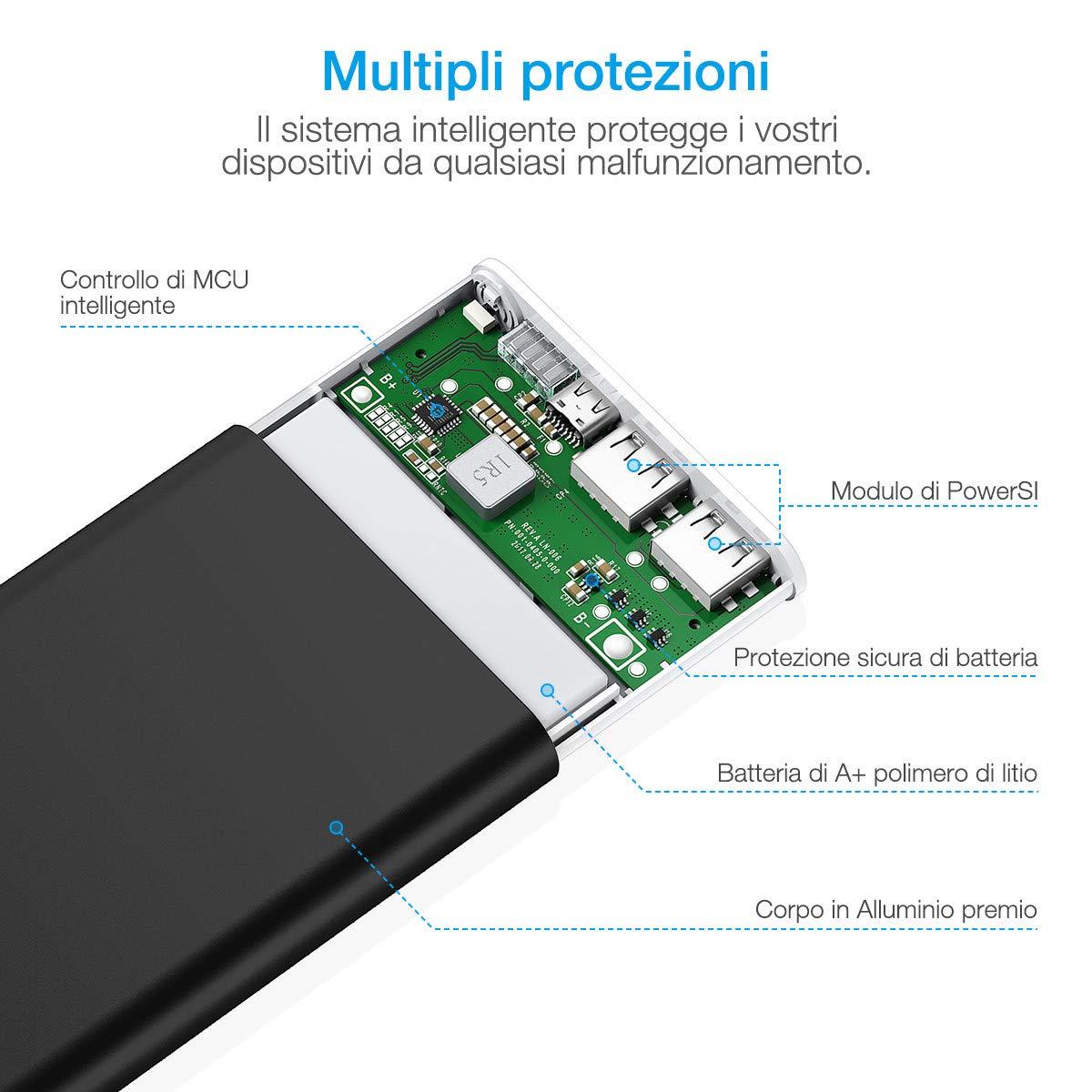 POWERADD Pilot 2GS Powerbank da 10000mAh - Caricabatterie portatile con 2 Uscite 3.1A+3.1A - Batteria Esterna per iPhone, iPad, iPod, Samsung e tanti altri Phone - NERO