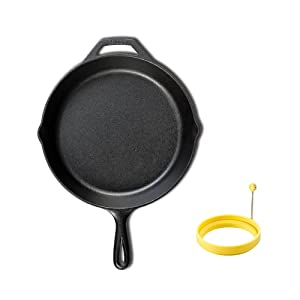 LODGE Pre-Seasoned Cast Iron Skillet (10.25 inch) + Dishwasher Safe Silicone Egg Ring (4 inch) for Breakfast Sandwiches or Pancakes