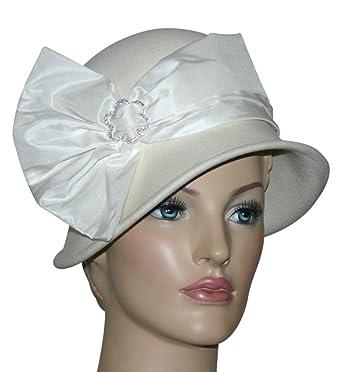 d620cfee49daa0 Amazon.com: Flapper Hat Gatsby Hat Downton Abbey Cloche Hat - Josephine –  Ivory Wool Hat: Clothing