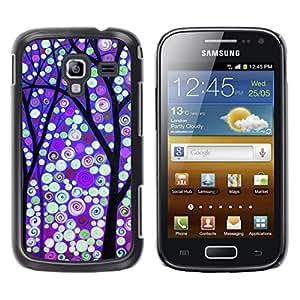 LECELL--Funda protectora / Cubierta / Piel For Samsung Galaxy Ace 2 I8160 Ace II X S7560M -- Winter Purple Snow Lights --
