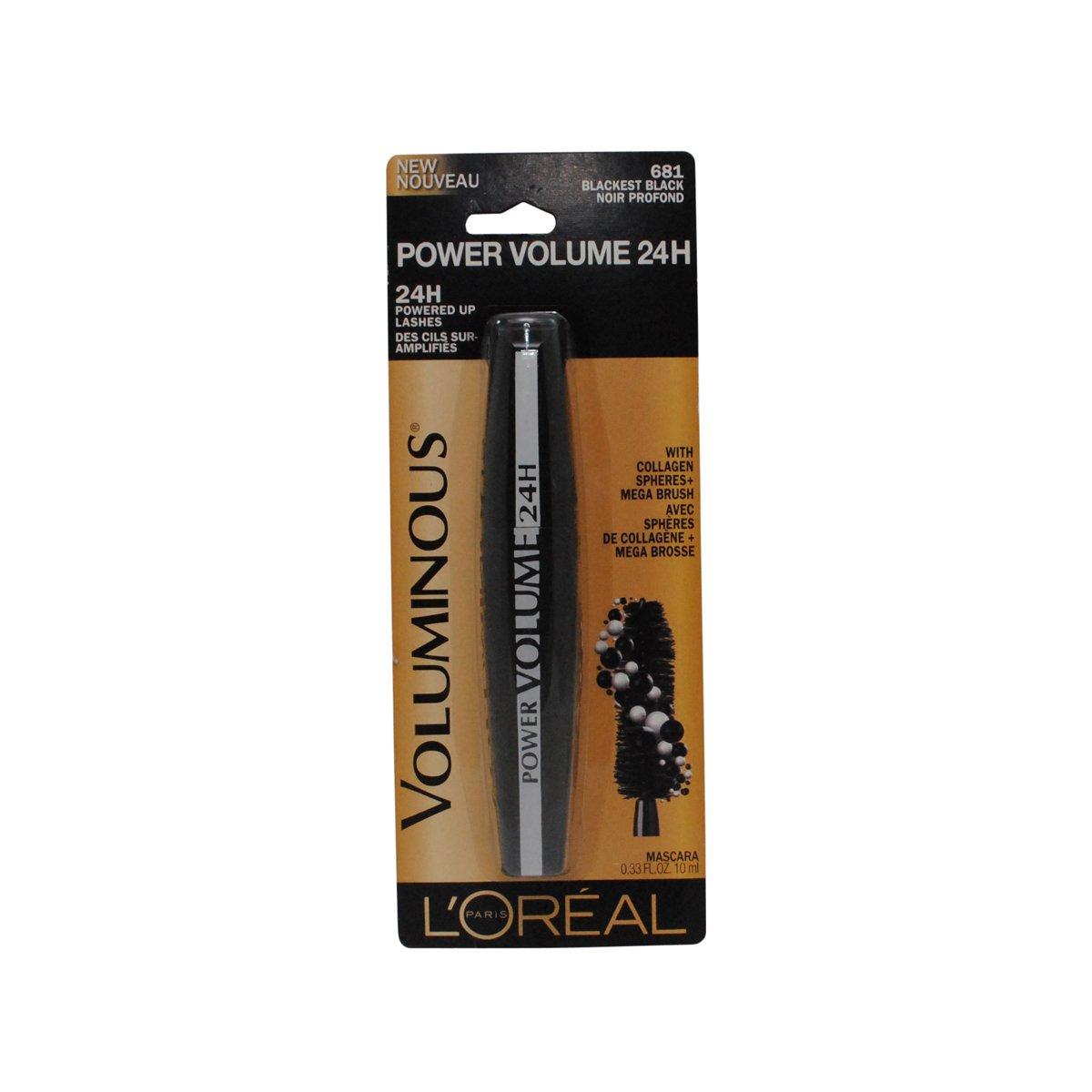 81256408761 Amazon.com : L'Oreal Paris Voluminous Power Volume 24H Mascara, 681  Blackest Black, 0.33 Fluid ounce : Beauty