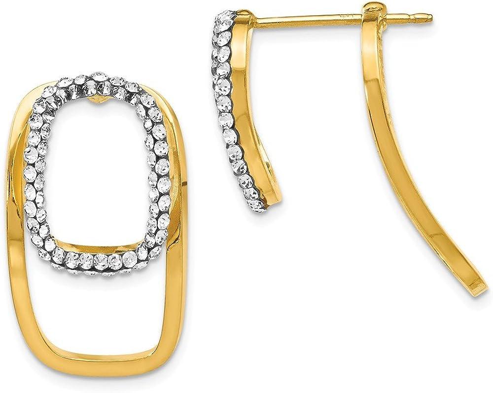 Leslies Real 14kt White Gold Front /& Back Earrings