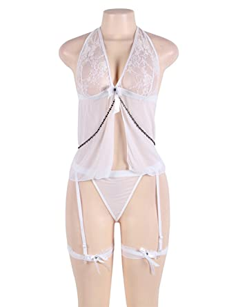 b0b5bead3f Boldiva Plus Size White Sheer Mesh Babydoll Lingerie Set for Women   Amazon.in  Clothing   Accessories