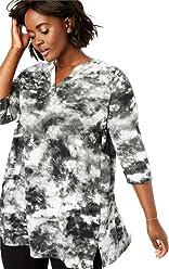 209015a465e Woman Within Plus Size Tie-Dye Notch Neck Tunic