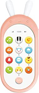 Jonzoo Kids Toy Phone, Early Educational Learning Electronic Smart Phone with Music,Lights for Baby Toddler Gift 6 Months + (Pink)