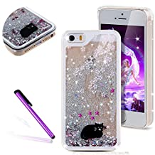 iPhone 4 Case,iPhone 4S Glitter Cover,LEECO 3D Quicksand Bling Shinny Flowing Liquid Shockproof Transparent Clear Hard Protective Case for Apple iPhone 4 / 4S,Silver Liquid-Black Cat