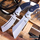 WarTech BUCKSHOT KNIVES 2 PC Cleaver Combo HIKING FOREST Etched Damascus Set 8.75' CLEAVER FIXED BLADE + 8' SHAVER STYLE Folding Blade CAMPING HUNTING KNIFE (Combo 3)