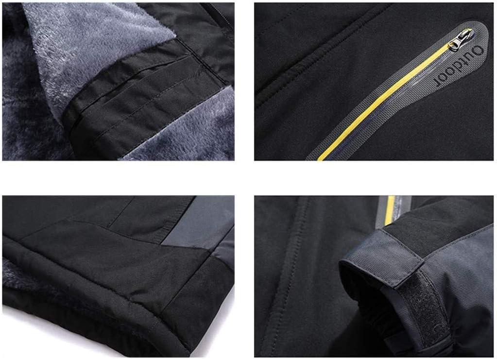 SSXZ Herren mit Abnehmbarer Kapuze und Leichter Warmer Polsterung Atmungsaktive Softshell-Jacke wasserdichte Winddichte Regen-Skijacke
