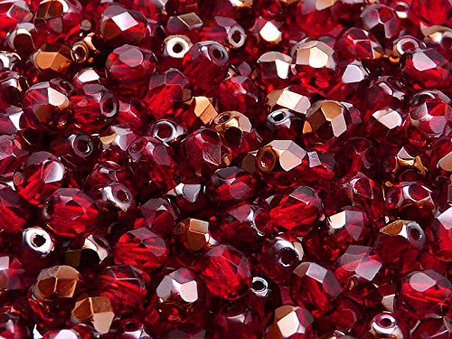 50pcs Czech Fire-Polished Faceted Glass Beads Round 6mm Ruby Valentinit