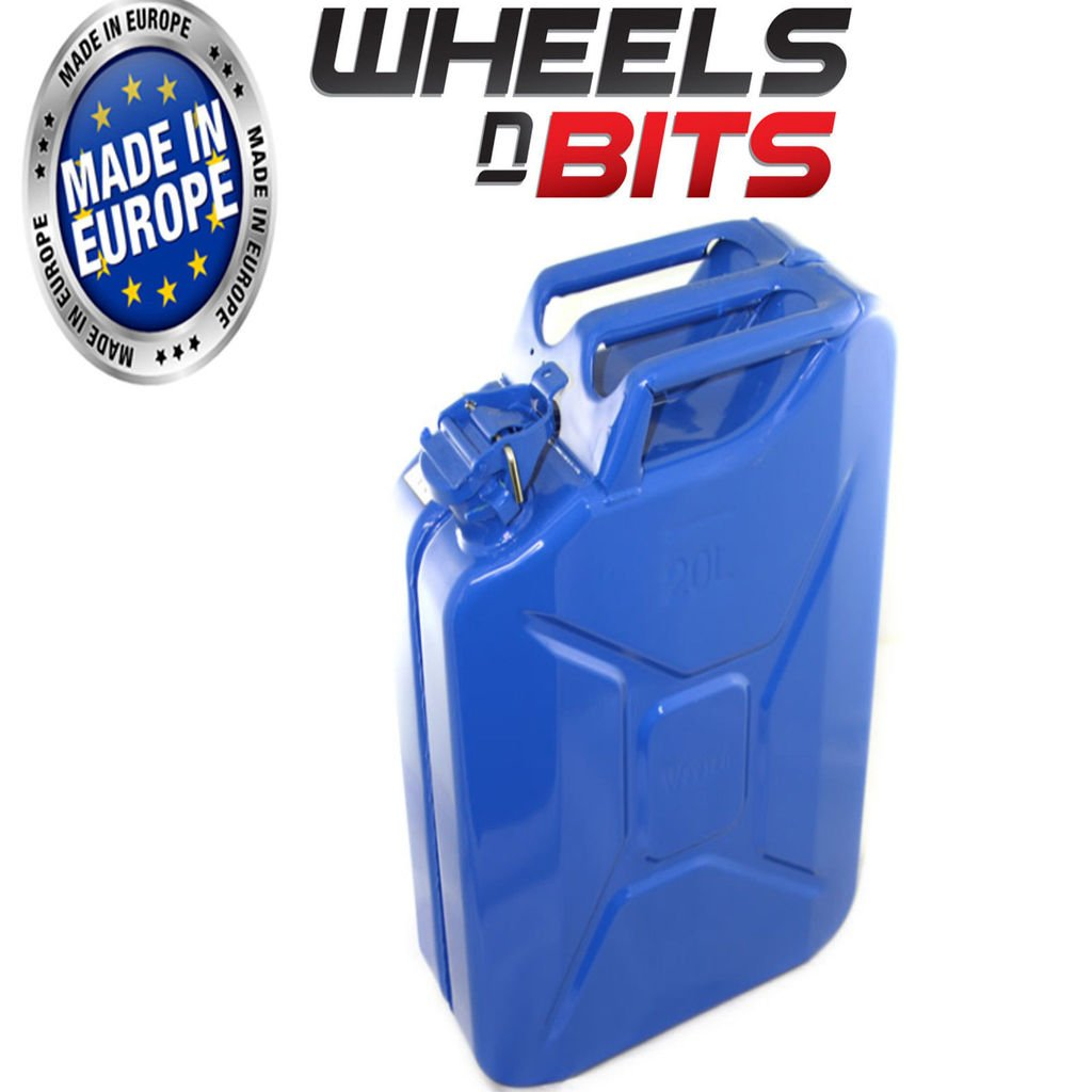 20L LITRE BLUE JERRY MILITARY CAN FUEL OIL WATER PETROL DIESEL RED BLUE GREEN Wheels N Bits