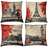 Freeas Throw Pillow Covers 18 x 18 Inches Black & Red Color Eiffel Tower & Big Ben Pillow Case Decorative Cushion Cover for Soft, Home, Bedroom, Indoor or Out Door Pillowcase(Set of 4)