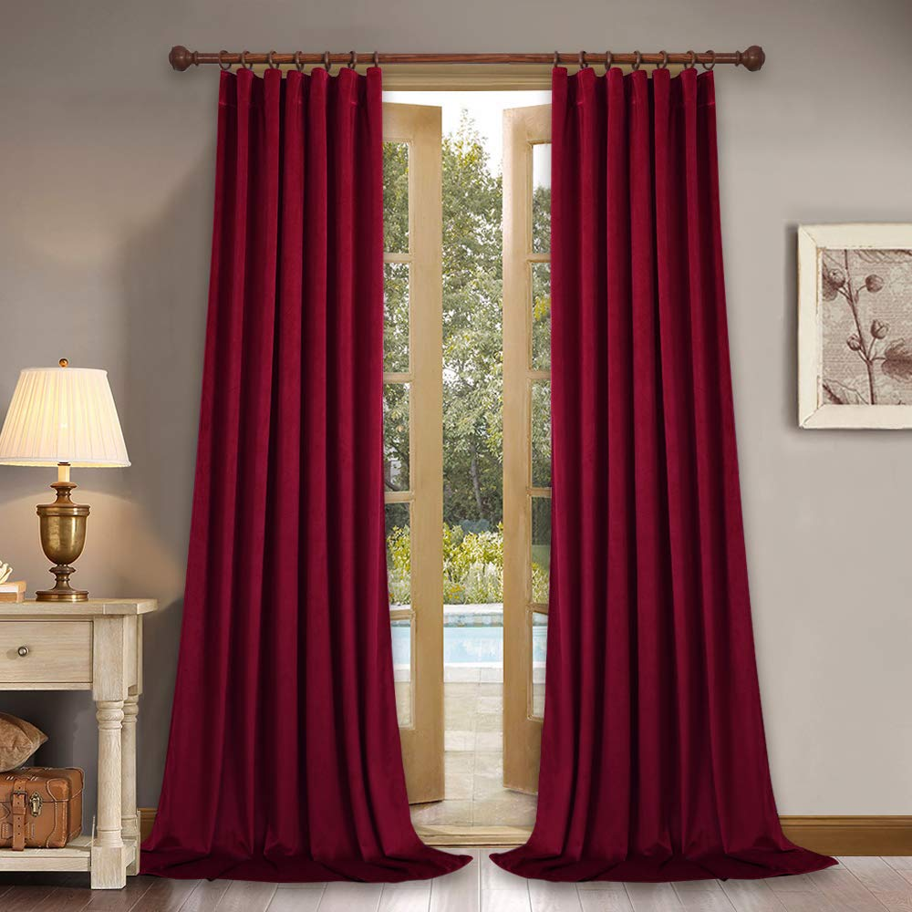 """Home Theater Red Velvet Curtains - 84 Inches Light Blocking Velvet Drapes with Solid Rod Pocket & Back Tab Design for Master Bedroom/Christmas Decor, 52"""" x 84"""" Each Panel, Set of 2 Pieces"""