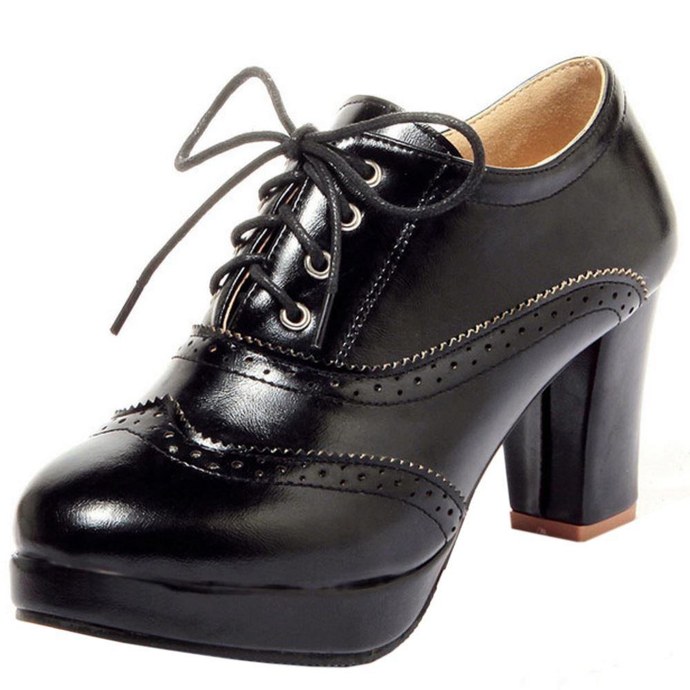 Zanpa Damen Mode Plateau Oxford Schuhe42 EU / 43 AS / 26.5 CM|Black